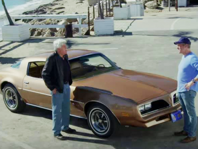 Jay Leno with gold Firebird